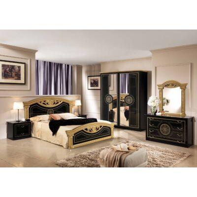 TL Roma hálószoba - fekete-arany 160x200 cm ággyal, 4-ajtós szekrénnyel